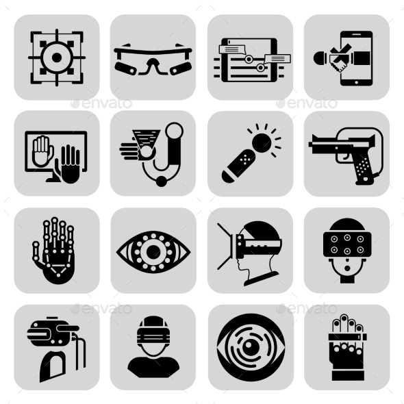 GraphicRiver Virtual Augmented Reality Icons Black 11197634