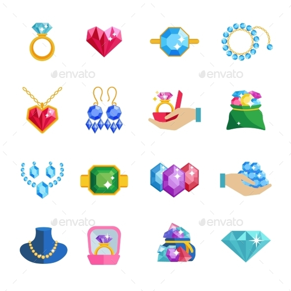 GraphicRiver Precious Jewels Icons Flat 11197636