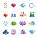 Precious Jewels Icons Flat - GraphicRiver Item for Sale