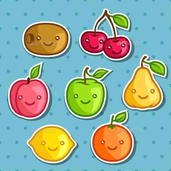 GraphicRiver Kawaii Fruit Stickers 11197656