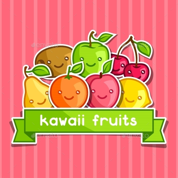 GraphicRiver Background with Kawaii Smiling Fruits 11197658