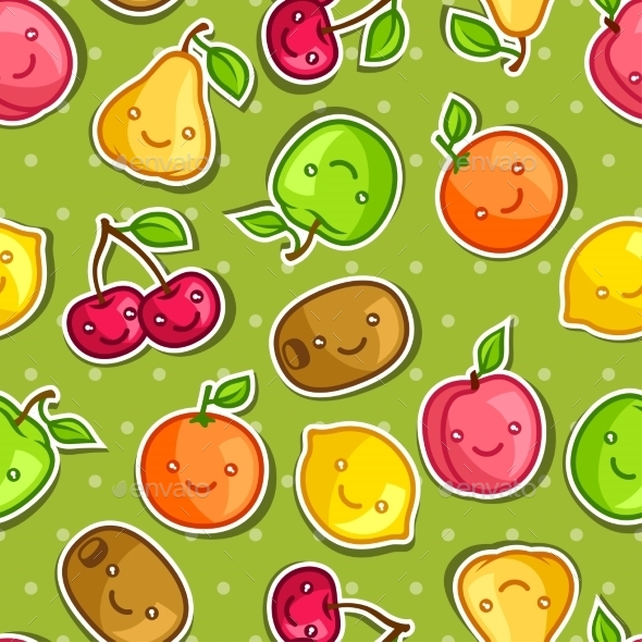 GraphicRiver Seamless Pattern with Kawaii Smiling Fruits 11197664