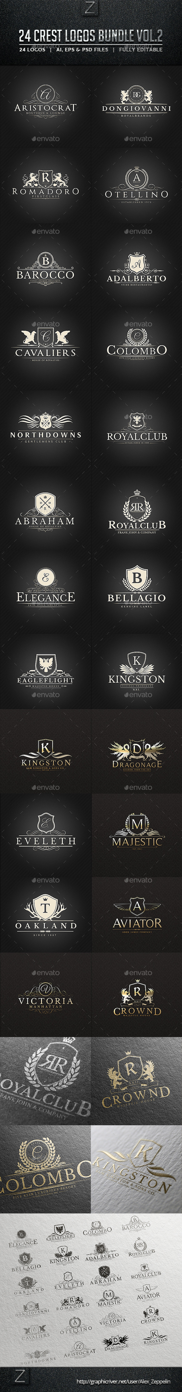 GraphicRiver 24 Crest Logos Bundle Vol.2 11197672