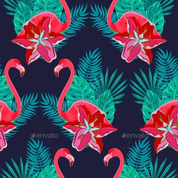 GraphicRiver Flamingo Lilies Seamless Pattern 11197674