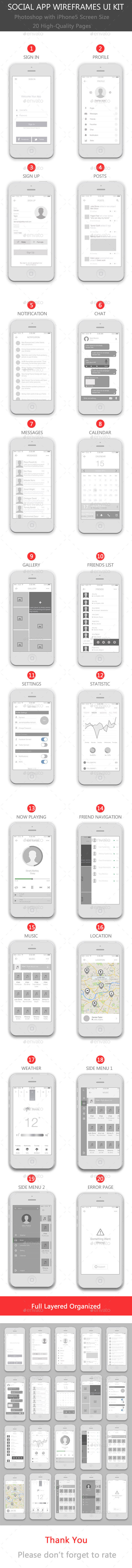 GraphicRiver Social App Wireframes UI Kit 11182243