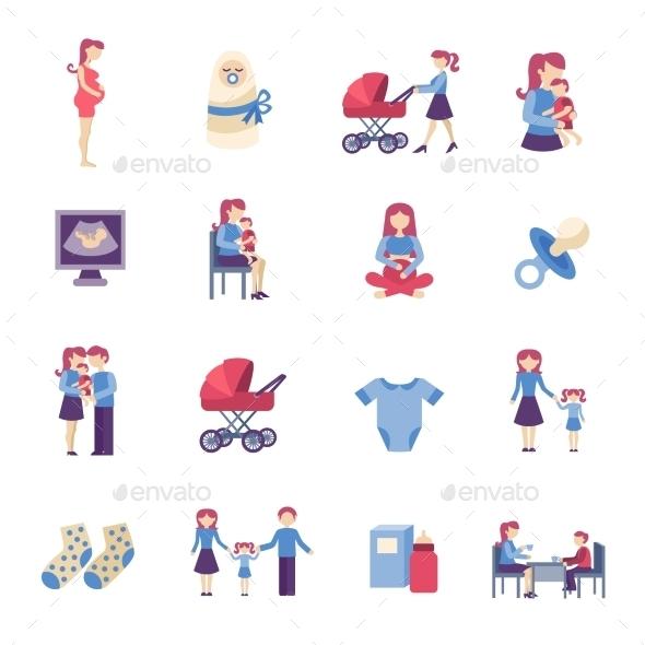 GraphicRiver Motherhood Flat Icons Set 11197770