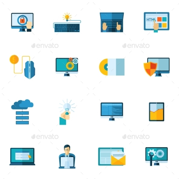 GraphicRiver Program Development Icons Set 11197774
