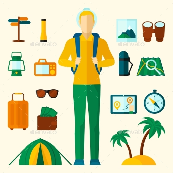GraphicRiver Tourist Icons Flat Set 11197852