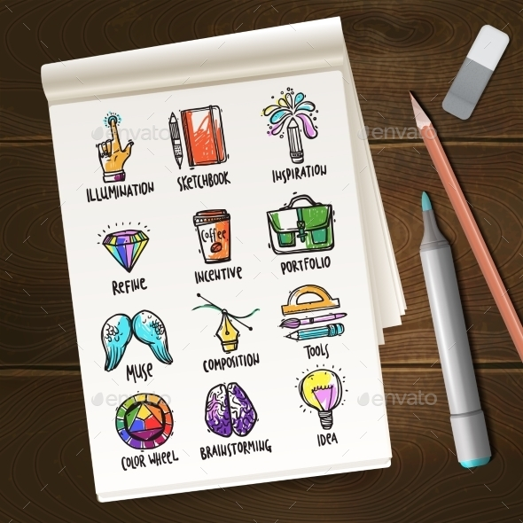 GraphicRiver Notebook with Creative Process Sketches 11197912