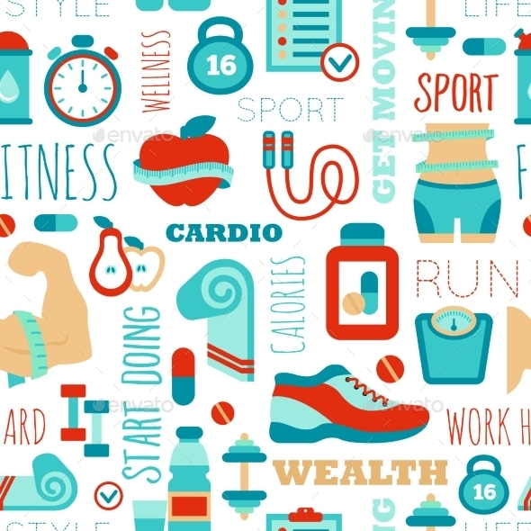 GraphicRiver Fitness Seamless Patterns 11198164