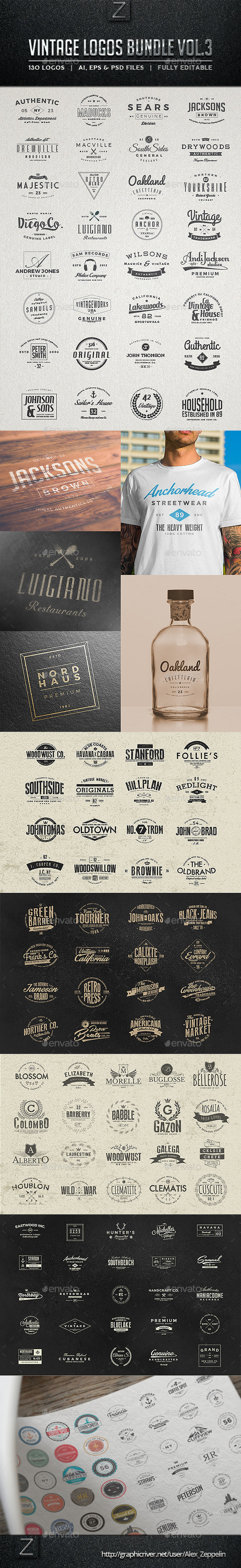 GraphicRiver 130 Vintage Logos Bundle Vol.3 11198215