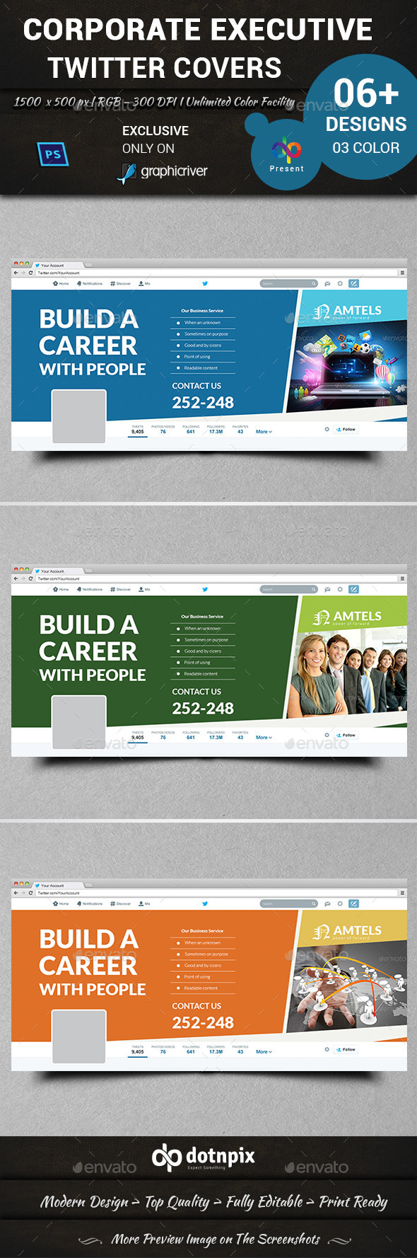 GraphicRiver Corporate Executive Twitter Covers 11198972