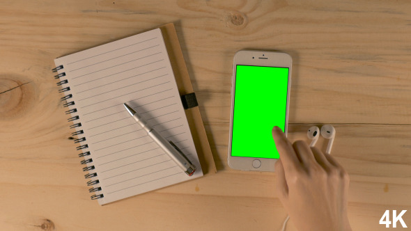 Touch Screen On Smartphone With Green Screen