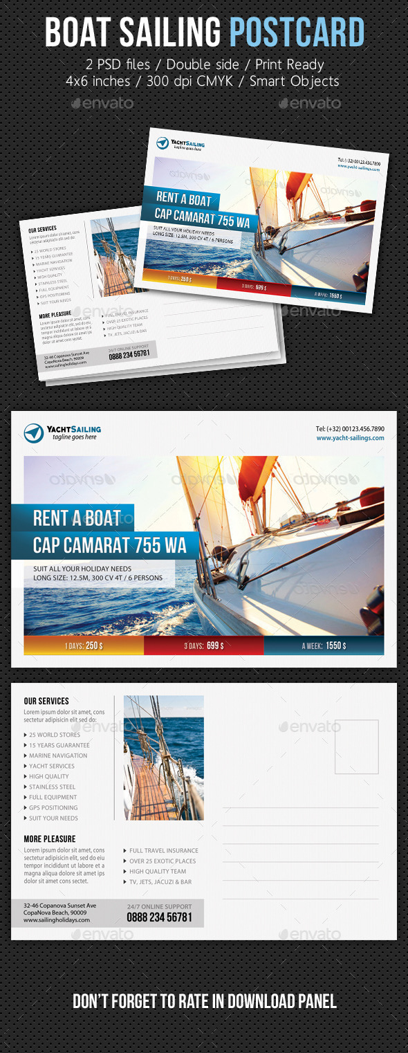 GraphicRiver Boat Sailing Postcard Template V05 11199021
