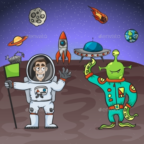 GraphicRiver Astronaut and Alien 11199087