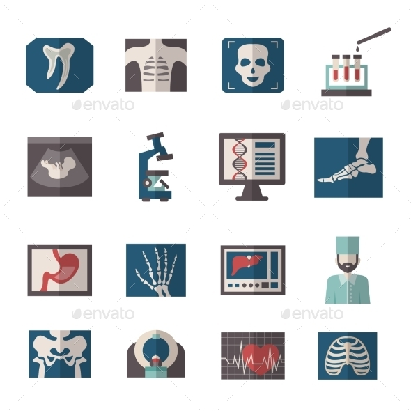 GraphicRiver Ultrasound X-ray Icons Flat 11199101