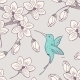 Seamless Pattern with Flowers and Bird - GraphicRiver Item for Sale
