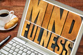 mindfulness word typography on laptop - PhotoDune Item for Sale