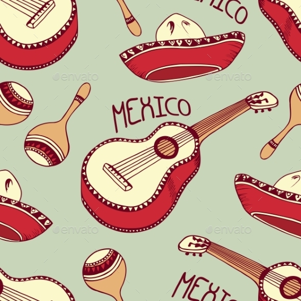 GraphicRiver Mexican Seamless Pattern with Sombrero 11199193