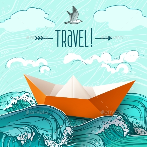 GraphicRiver Paper Ship on Waves 11199241