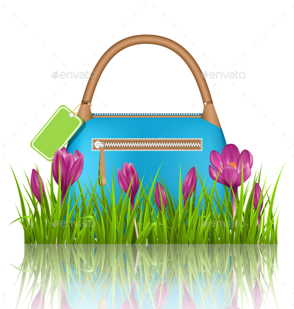GraphicRiver Blue Woman Bag with Crocuses in Grass Lawn 11199302