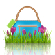 Blue Woman Bag with Crocuses in Grass Lawn - GraphicRiver Item for Sale