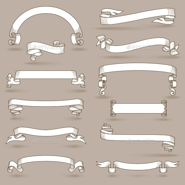 GraphicRiver Vintage Ribbons Set 11199312