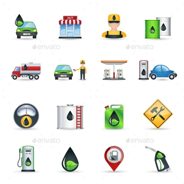 GraphicRiver Gas Station Icons Set 11199350