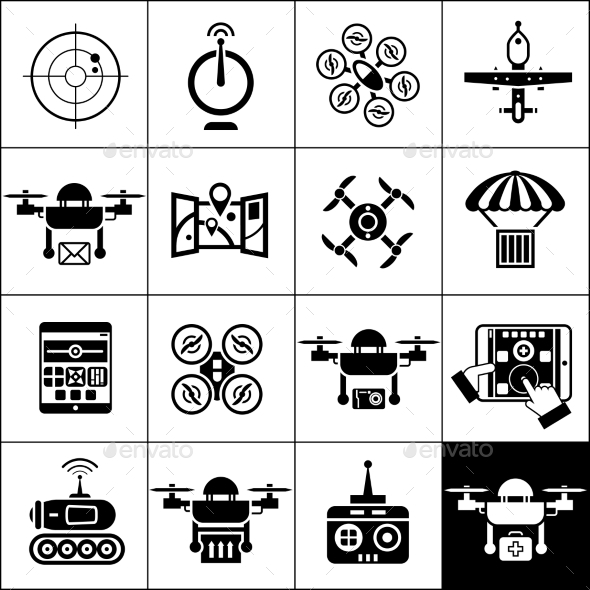 GraphicRiver Drone Icons Black 11199613