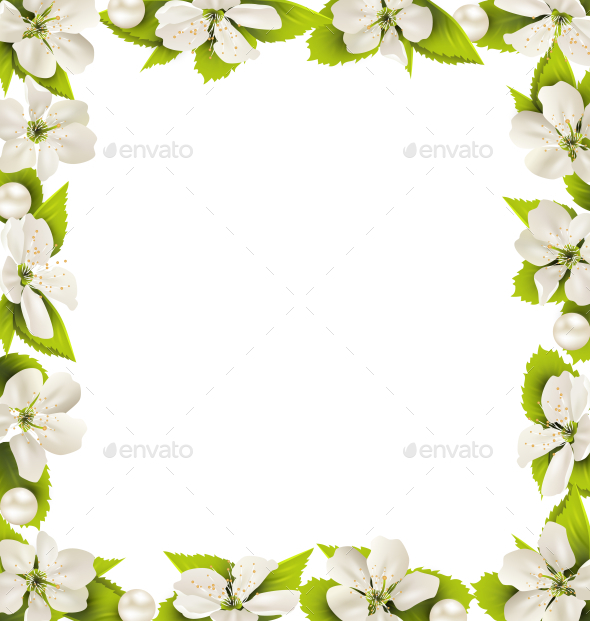 GraphicRiver Cherry Flowers with Pearl Beads Frame 11199936