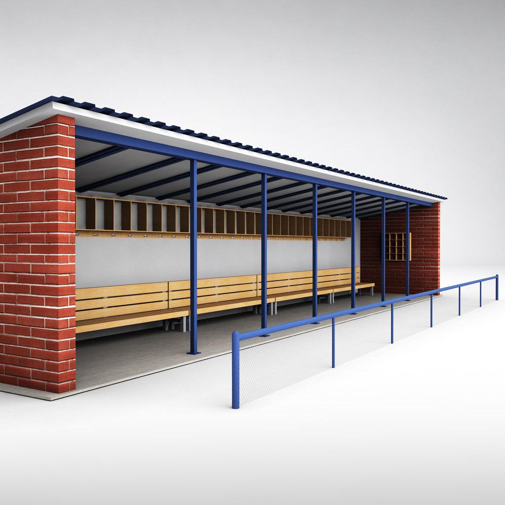 Baseball stadium dugout bench by kr3atura   3DOcean