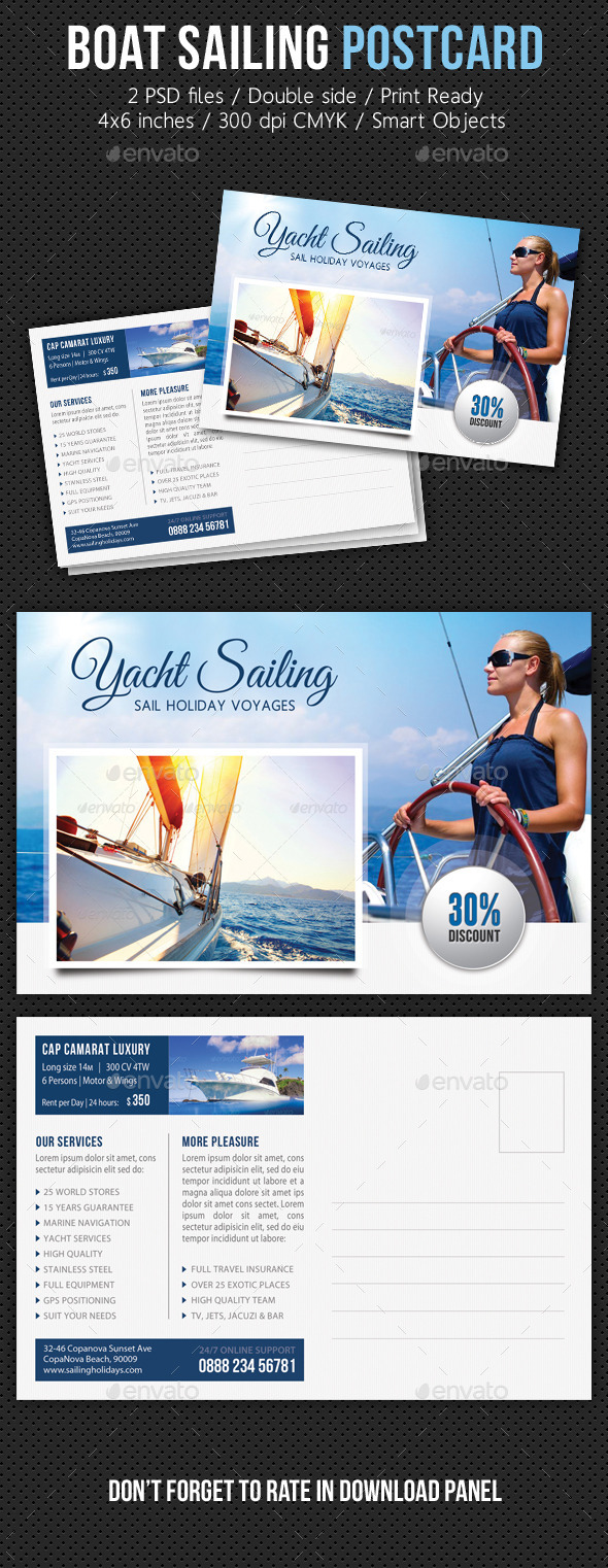 GraphicRiver Boat Sailing Postcard Template V06 11200523