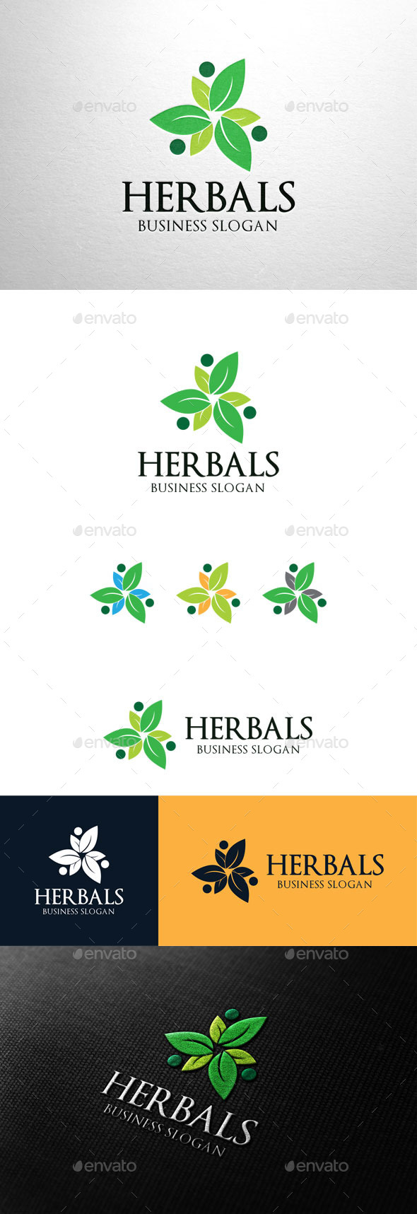 GraphicRiver Herbals Leaf Group Logo 11200586