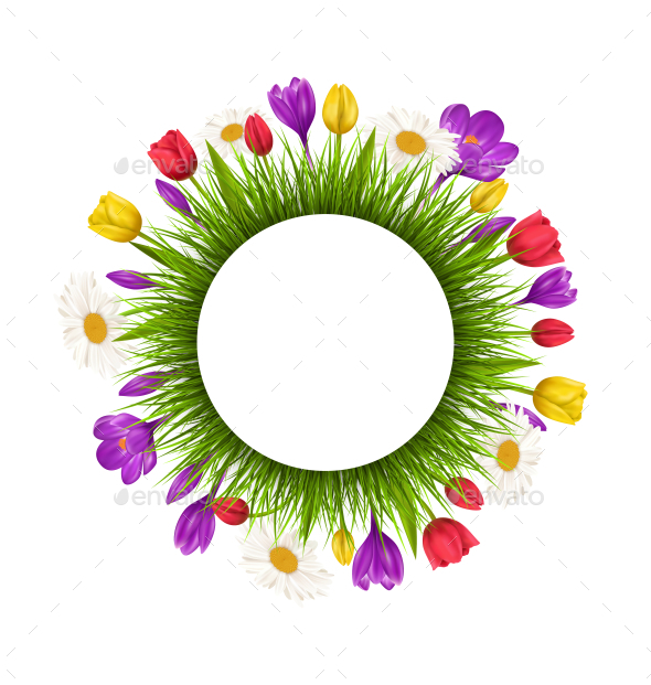GraphicRiver Circle Flowers Frame with Green Grass 11200622