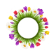 Circle Flowers Frame with Green Grass  - GraphicRiver Item for Sale