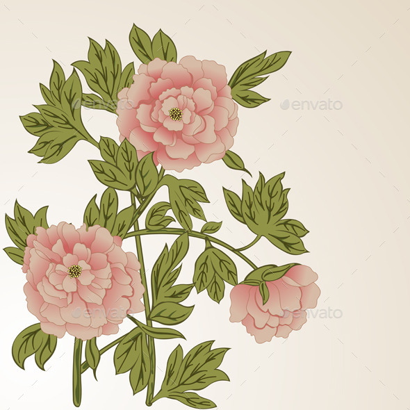 GraphicRiver Floral Background with Peonies 11200662
