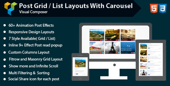 CodeCanyon Visual Composer Post Grid List Layout With Carousel 11030539