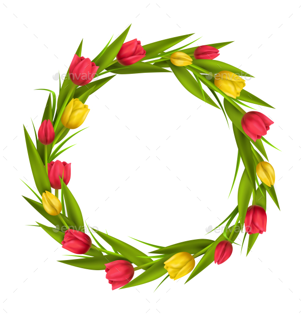 GraphicRiver Circle Frame with Red and Yellow Tulips on White 11200689