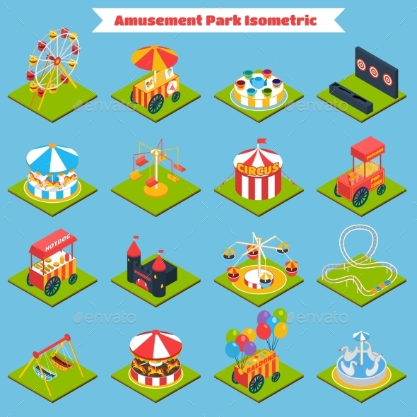 GraphicRiver Amusement Park Isometric 11201018