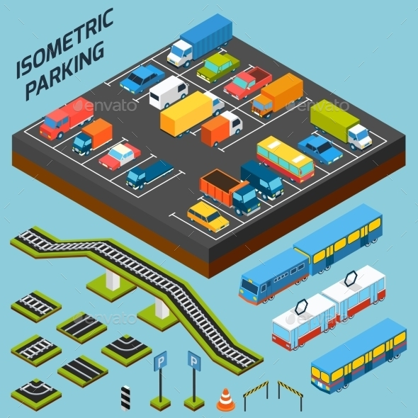 GraphicRiver Isometric Parking Elements 11201113