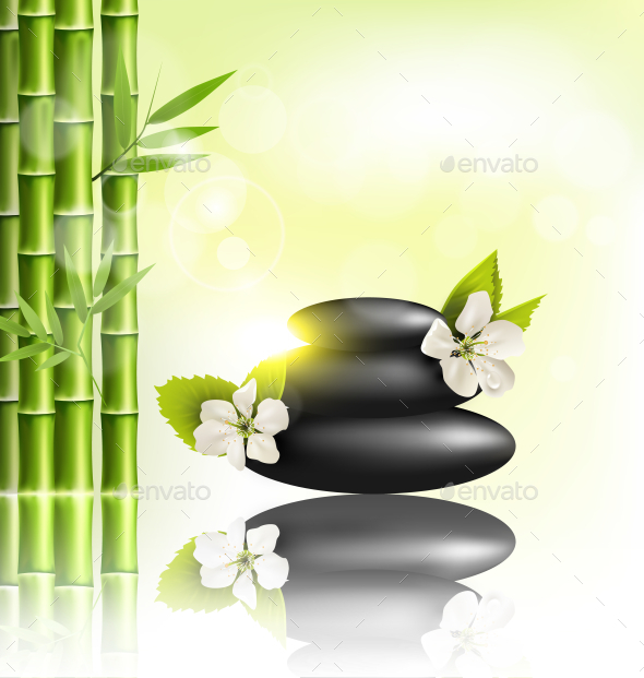 GraphicRiver Spa Stones and Cherry Flowers and Sun and Bamboo 11201303