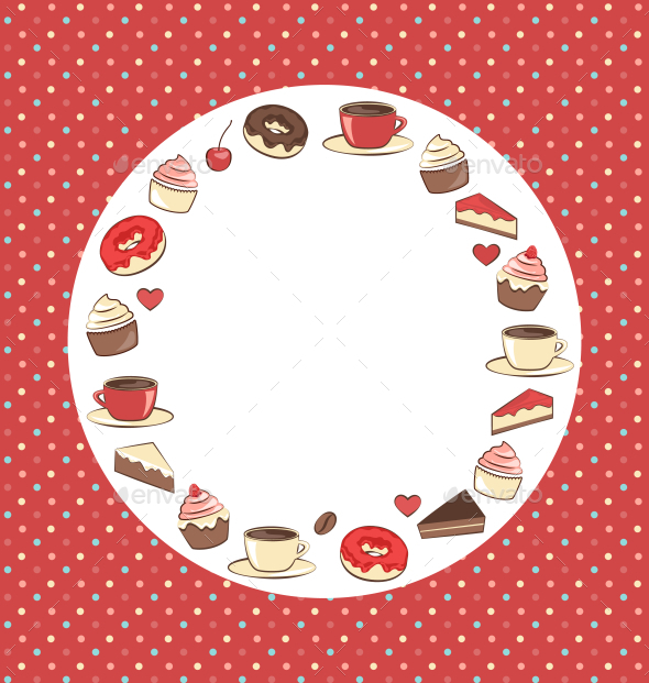 GraphicRiver Sweets Circle Frame on Red Background in Dots 11201346