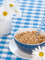 Breakfast cereal  on table with milk and flowers - PhotoDune Item for Sale