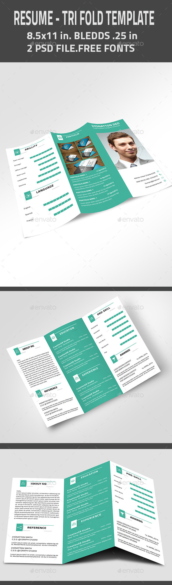 GraphicRiver Designer Resume & Portfolio Trifold Brochure 11202153
