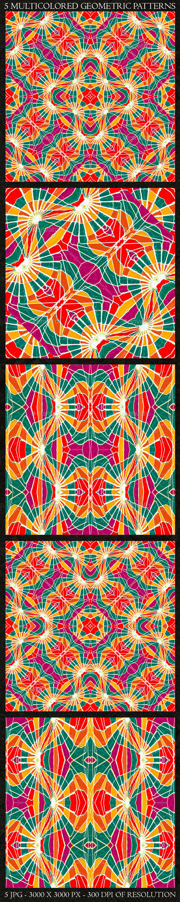 GraphicRiver 5 Multicolored Geometric Patterns 11202212