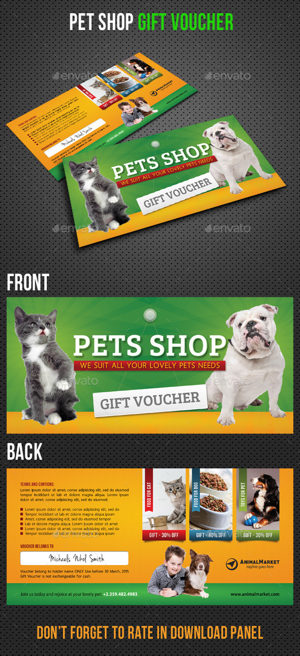 GraphicRiver Pet Shop Gift Voucher 11202720