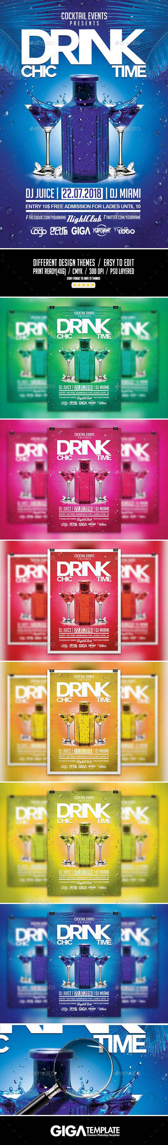 GraphicRiver Chic Drink Time Modern Night Flyer PSD Template 11202946