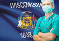 Surgeon with US state flag on background series - Wisconsin - PhotoDune Item for Sale