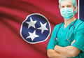 Surgeon with US state flag on background series - Tennessee - PhotoDune Item for Sale