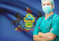 Surgeon with US state flag on background series - Pennsylvania - PhotoDune Item for Sale